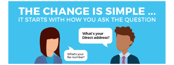 "A woman asking ""What's your fax address?"" and a man responding ""What's your Direct address?"" indicating how Direct is a replacement for fax"